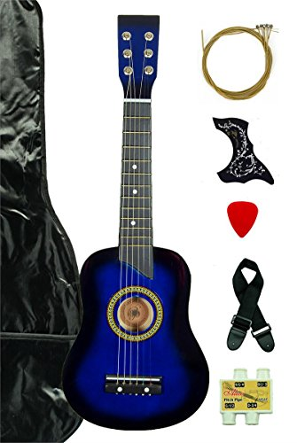 Blue Acoustic Toy Guitar for Kids with Carrying Bag and Accessories & DirectlyCheap(TM) Translucent Blue Medium Guitar Pic