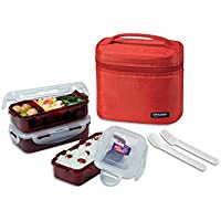 Bento Lunch Box Set - Airtight - Microwave, Dishwasher, Freezer Safe - 3 Containers with Spoon Fork - 4.45 Cups