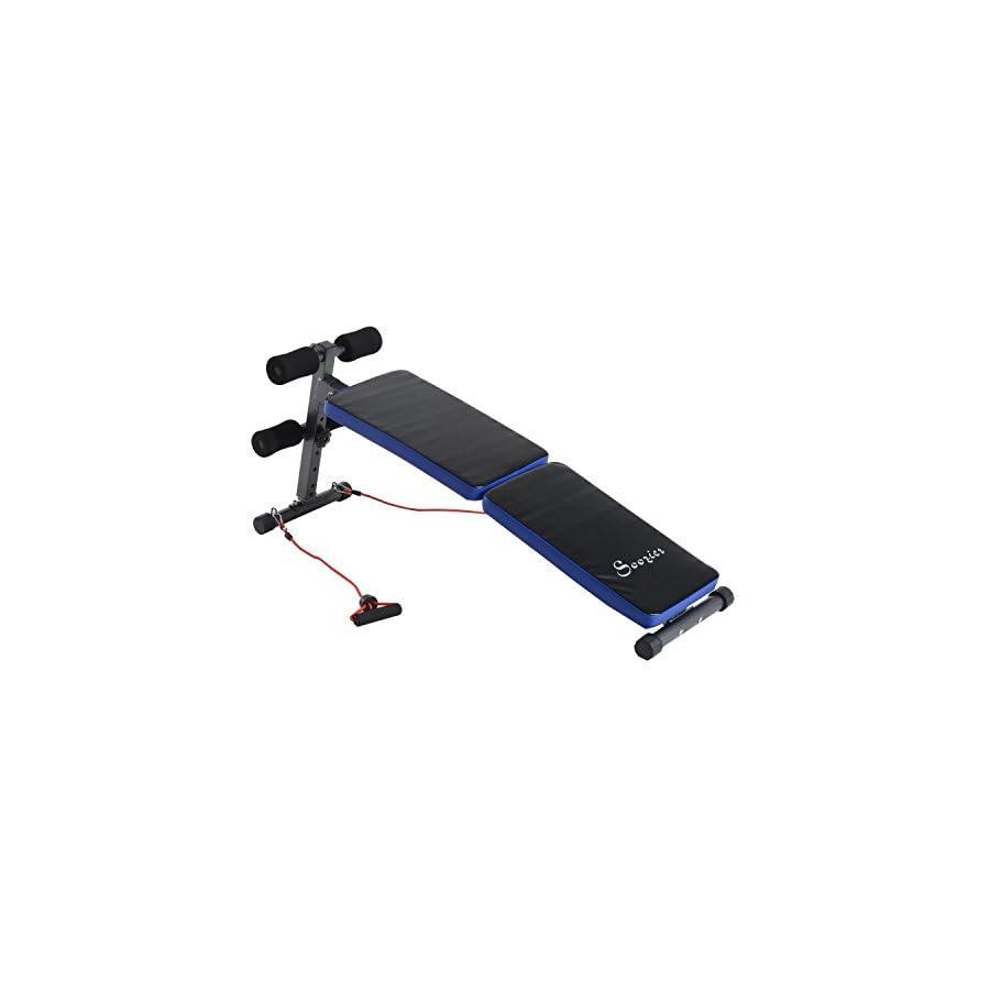 Soozier Adjustable Folding Ab Decline Sit up Bench w/Resistance Bands