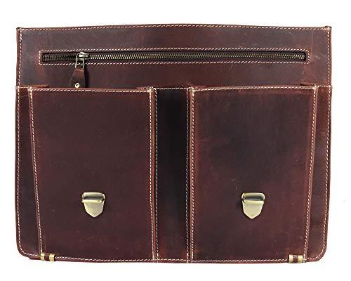 16'' Leather Briefcase Messenger Bag for Laptop by Aaron Leather (Walnut) by AARON LEATHER GOODS VENDIMIA ESTILO (Image #4)