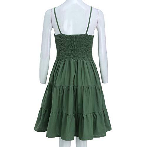 IEasⓄn Women Dress, Summer Women V-Neck Solid Sexy Sling SleevelessTightness Mini Dress Green by IEasⓄn (Image #3)