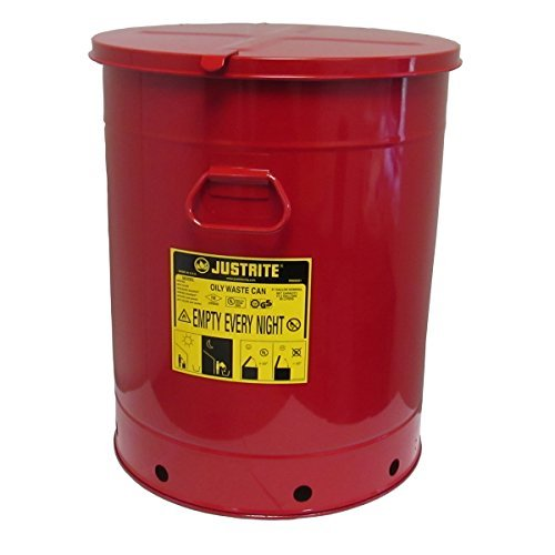 Justrite 09710 Steel Oily Waste Can with Hand Operated Cover, 21 Gallon Capacity, Red ()