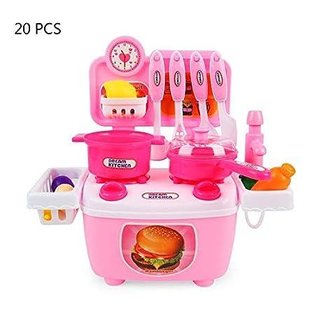 Voiks Jeu de rôle de Cuisine Playset Toy Enfants Pretend kit de Cuisson Nourriture Rose/Bleu Ensemble de Cadeau de Noël pour Les Enfants de 3Ans, Rose, 12Pcs