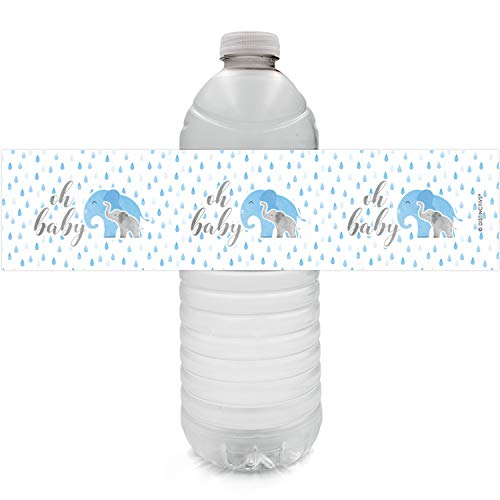 Blue Elephant Baby Shower Water Bottle Labels | 24 Stickers -