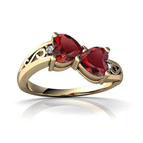 14kt Yellow Gold Garnet and Diamond 5mm Heart filligree Bypass Ring - Size 6