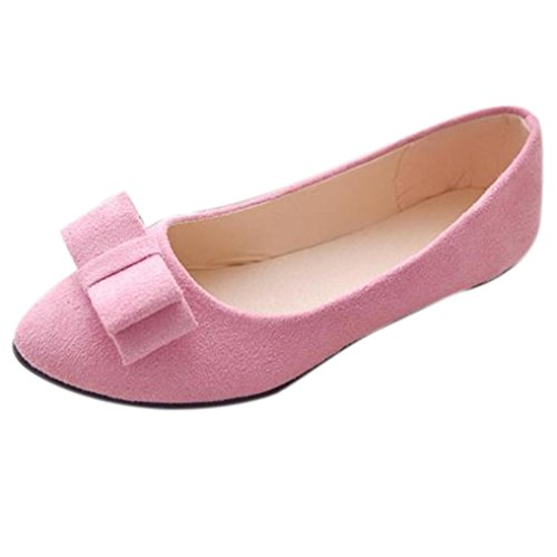 hunpta Women Ballet Shoes Work Flats Bow Tie Slip Shoes Boat Comfortable Shoes Pink MmtT3