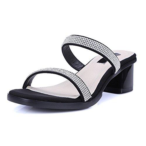AllhqFashion Mujeres Tacón ancho Material Suave Sólido Sin cordones Puntera Abierta Sandalia Negro