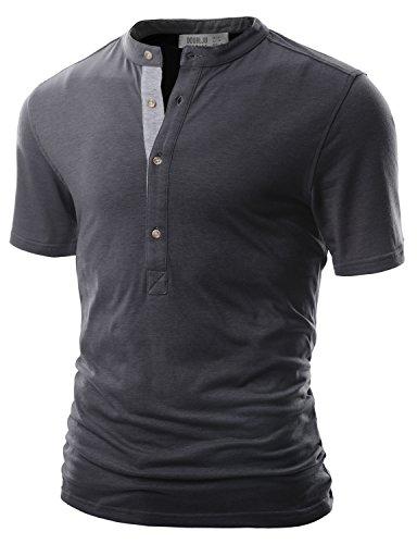 Doublju Men Lightweight Color Blocked 3/4 Sleeve Henley T-Shirt CHARCOAL,L
