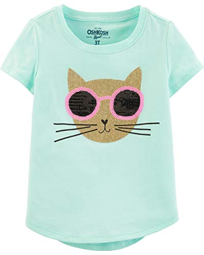 Osh Kosh Girls' Toddler Sequin Short-Sleeve T-Shirt, Cat Glitter, 4T ()