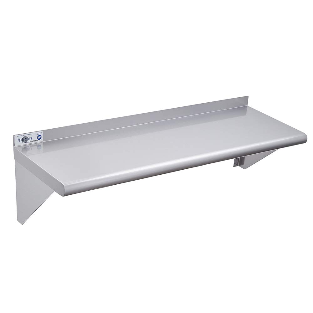 """Profeeshaw Stainless Steel Shelf Wall Mounted 12""""×48"""" NSF Certified Commercial Metal Shelving with Backsplash and 2 Brackets for Restaurant, Bar, Utility Room, Kitchen and Garage"""