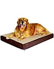 Floppy Dawg Large Orthopedic Dog Bed with Removable Cover and Waterproof Liner. 4 Inch Solid Foam Base Features Gel Memory Foam Top Layer.