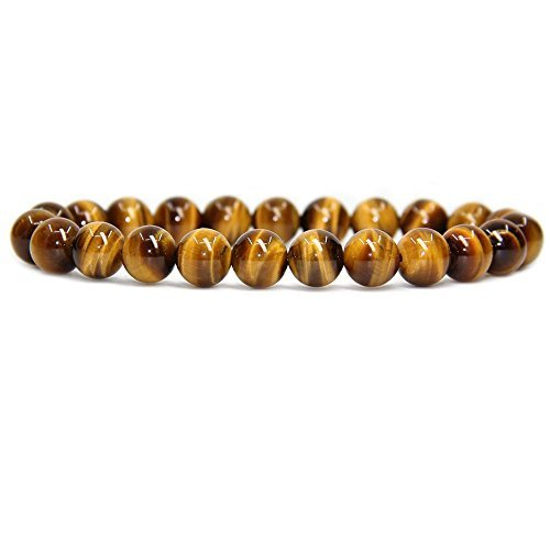 - Natural AA Grade Golden Tiger Eye Gemstone 8mm Round Beads Stretch Bracelet 7