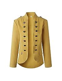 wuliLINL Women's Open Front Retro Long Sleeves Work Blazer Casual Buttons Pockets Bomber Jacket Suit Outwear