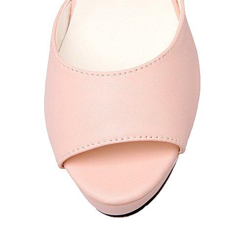 AalarDom Matière Femme Petite Rose Ouverture Haut TSFLH005765 Souple Sandales Talon à Boucle wZgrnwq1