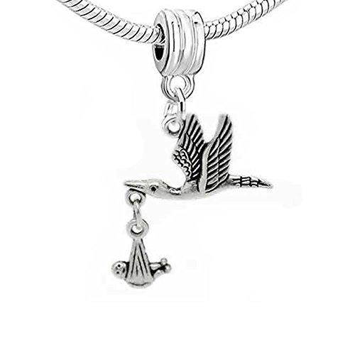 """""""Flying Stork W/dangling Baby """"Dangle Charm Bead For Snake Chain Charm Bracelet"""