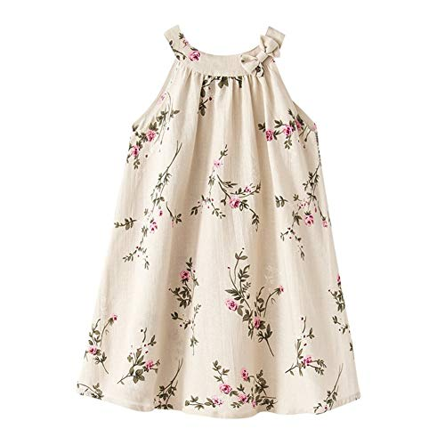 Little Big Girl Linen Casual Dress Cosy Summer Floral Tank Vest Shift Shirt Dress ()