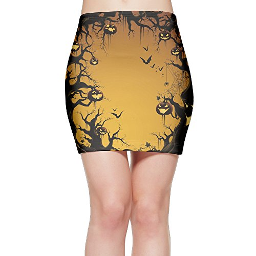 Festival Mini Poster (Halloween Pumpkin And Ghosts Poster Womens Mini Bodycon Skirt)