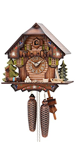 German Cuckoo Clock 8-day-movement Chalet-Style 13 inch - Authentic black forest cuckoo clock by Hekas by ISDD Cuckoo Clocks