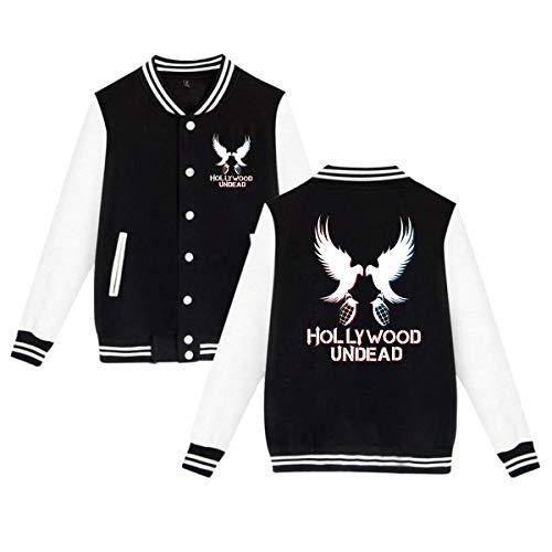 BBABC Hollywood Undead Hip Hop Band Mens & Womens Vintage Hoodie Baseball Uniform Jacket Sport Coat Black S