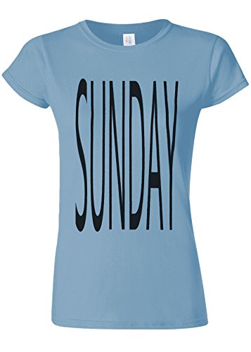 デコラティブ交響曲電報Sunday Holiday Rest Funday Novelty Light Blue Women T Shirt Top-XL