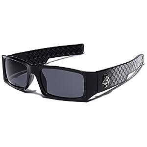 Locs Men's Original Gangsta Shades Rectangle Sunglasses with Black Lens