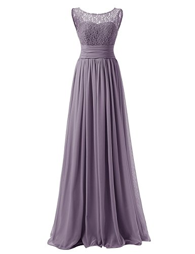 Scoop Lace Bodice Chiffon Prom Gowns A-line Long Bridesmaid Dress Purplish Grey US10