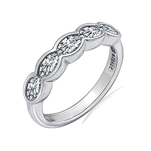 Diamonbliss Platinum Plated Sterling Silver Cubic Zirconia 5-Stone Oval Bezel Set Ring Size-6
