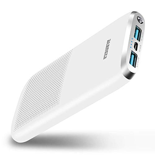 Portable Charger 10000mAh Quick Charge 3.0 Alongza Cell Phone Battery Charger External Battery Pack Power Bank Compatible with iPhone Xs XR X 8 7 6 iPad Samsung Galaxy S9 S8 S7 & Android Phones,White