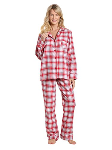 Noble Mount Women's Cotton Lightweight Flannel Pajama Set - Plaid White-Red - 2XL (White Pants Plaid)