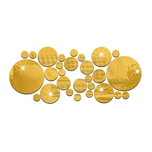 Acrylic Mosaic (28PCS Dots Mirror Tile Decal Wall Sticker Acrylic DIY Self Adhesive Mosaics Home Decor-Gold)