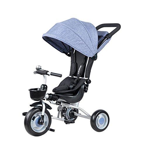 QXMEI El Triciclo De Los Niños Puede Doblar El Carro De La Bicicleta El Triciclo del Bebé DE 1-3 Años,Blue
