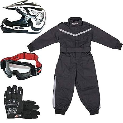Leopard LEO-X17 Negro Casco de Motocross para Niños (M 51-52cm) + Gafas + Guantes (M 6cm) + Traje de Motocross para Niños - XS (3-4 Años)