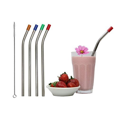 RAINIER Smoothie Drinking Straws | Extra Wide Reusable Stainless Steel Metal | Jumbo Size for Thick, Chunky, Frozen Drinks & Boba Tea | Set of 4 with Comfort Tips, Cleaning (Stainless Steel Large Tip)