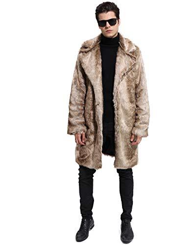 Lafee Bridal Men's Luxury Faux Fur Coat Jacket Winter Warm Long Coats Overwear Outwear Light Brown M