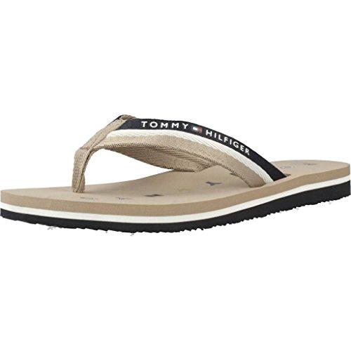 Tommy Hilfiger Damen Tommy Loves NY Beach Sandal Zehentrenner  Beige (Cobblestone 068)