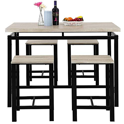 MOOSENG, 5 Pieces Dining Table Set, Wood Pub Height Desk and 4 Backless Stools for Bar, Kitchen, Breakfast Nook, Living Room Occasions, Luxe-Beige (Table Breakfast And Wood Chairs)
