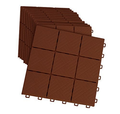Imperial Home Interlocking Deck Tile Patio Pavers, 11 x 11 Easy Set Up Outdoor Walkway Pavers (Set of 12) (Mocha Color) (Outdoor Tile Stone)