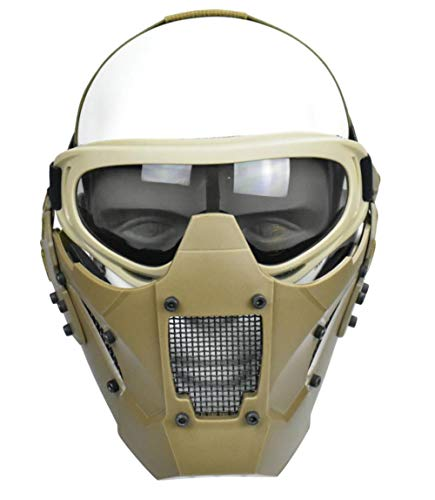 Jadedragon Tactical Airsoft Lower Face Mask Half Face Steel Mesh Protective Mask and Goggles Set (Khaki)