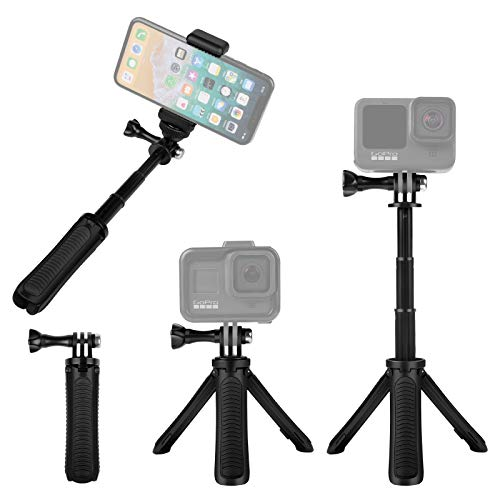 Taisioner Mini Selfie Stick Tripod Kit Two in One Compatible with GoPro AKASO Action Camera and Cell Phone Accessories