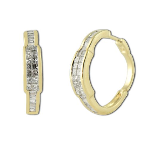 TriJewels Diamond Princess Cut & Baguette Shape Hoop Earrings 1.00ct tw in 10K Yellow Gold