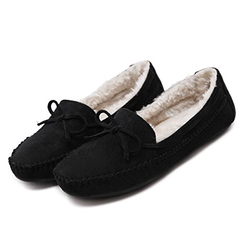 D2c Beauty Dames Winter Suede Slip Op Mocassin Slipper Loafer Schoenen Zwart