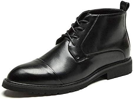 アンクルブーツフォーマルドレスシューズマイクロファイバーレザー尖ったキャップ足モチ靴ひもレースアップ通気性裏地アンチスリップハンドソーイング YueB HAJ (Color : ブラック, サイズ : 25.5 CM)