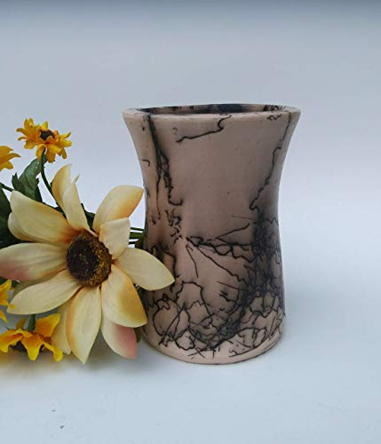 Native Indian Pottery (Horsehair Raku ~ 5.5 inch Tall Vase ~ Handmade Ceramic Pottery ~ Unique Home Decor ~ Horse Hair Pottery)