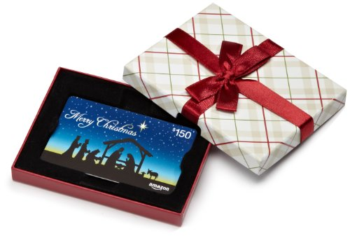 Amazon.com $150 Gift Card in a Plaid Gift Box (Christmas Nativity Card Design)