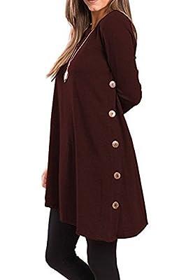 TuiFallen Womens Long Sleeve Button Side Shirt Scoop Neck Tunic Sweater Dress
