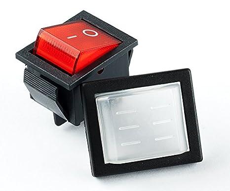 Wippschalter EIN-AUS Wasserdicht IP65 LED Beleuchtet 230V AC 34x17mm Rot Blau