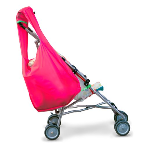 Hatch Things SureShop Reusable Shopping Bag That Clips On To Keep Strollers Standing, Hot Pink