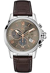 Guess Collection Men's Esquire Brown Leather Band Steel Case Quartz Beige Dial Analog Watch Y08001G1