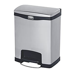 Rubbermaid Commercial Slim Jim Stainless Steel Front Step-On Wastebasket with Trash/Recycling Combo Liner, 8-gallon, Black (1901987)
