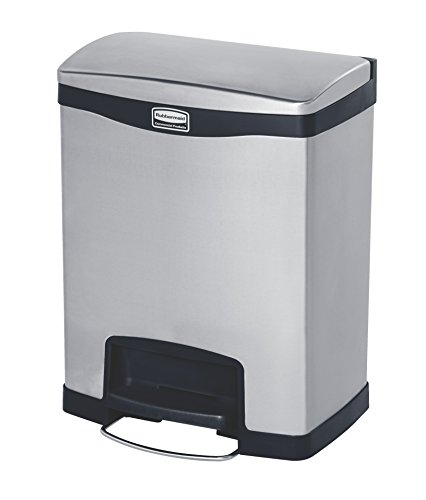 (Rubbermaid Commercial Products 1901987 Rubbermaid Commercial Slim Jim Stainless Steel Front Step-On Wastebasket with Trash/Recycling Combo Liner, 8 gal, Black Trim)